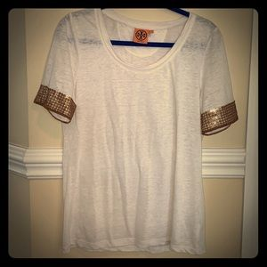 Tory Burch white linen top with gold sleeves